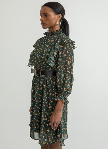 Foremia Çıtır Çiçek Desen Gipeli Elbise Yeşil